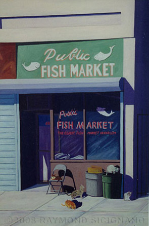 Painting of the oldest fish market in harlem in new york for Best fish market nyc